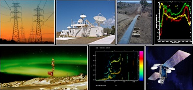 Collage of images - Power lines, Learmonth Observatory, pipeline, Magnetometer measurements , Aurora at Casey, an Ionogram, and Satellite.